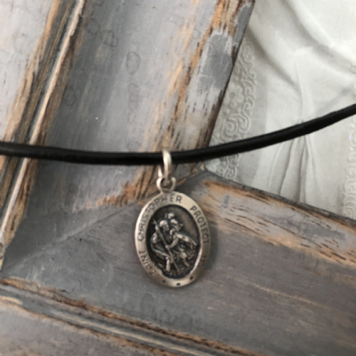 Boy's  St Christopher gift - leather necklace